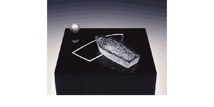 NIGHT SEA JOURNEY XI 1991 glass, lead, silver leaf 2X15X15 inches